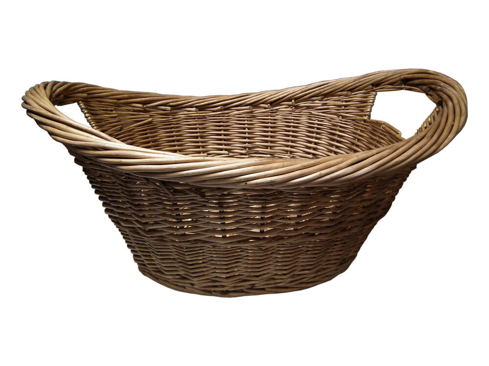 large wicker oval log basket storage handles willow laundry hamper ebay. Black Bedroom Furniture Sets. Home Design Ideas
