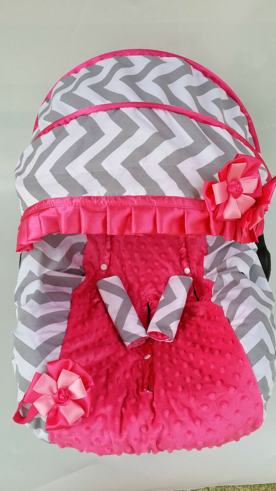 Baby Girl Gray Pink Infant Car Seat Cover Canopy Cover Fit