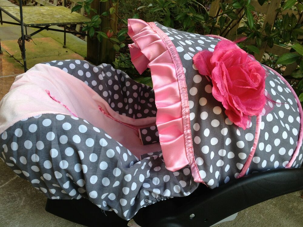 baby infant car seat cover canopy cover fit most infant car seat polka dots pink ebay. Black Bedroom Furniture Sets. Home Design Ideas
