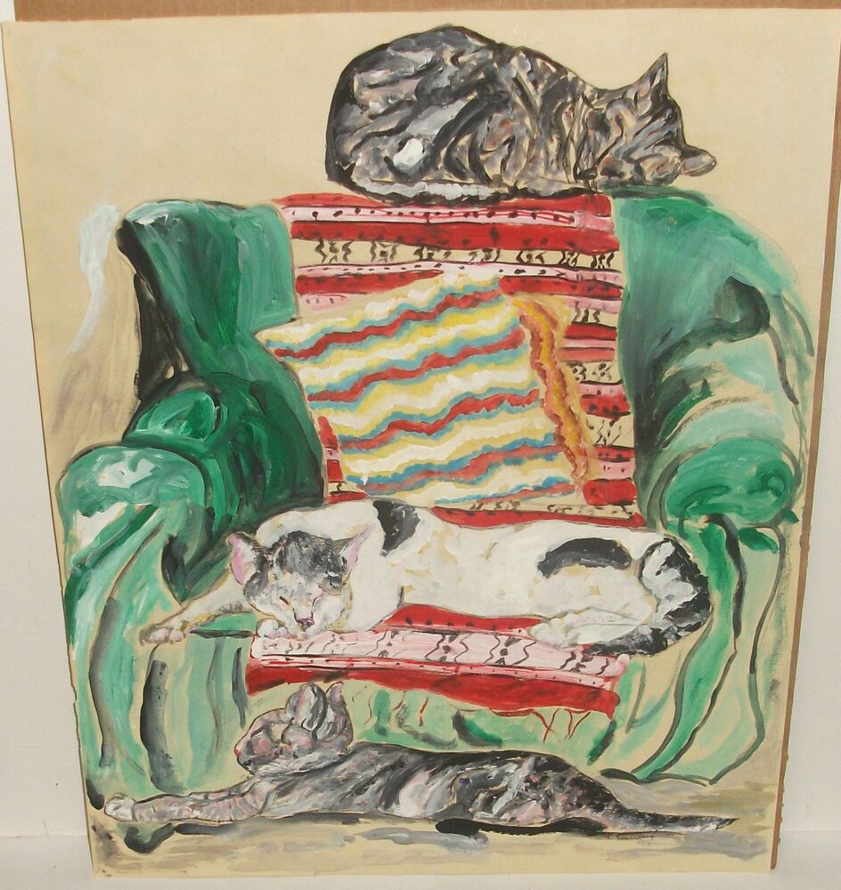 G.ROSENBERG SLEEPING CAT ON GREEN CHAIR WITH RUGS OLD