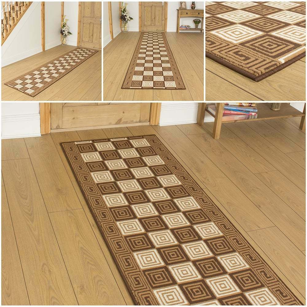 Chequer brown hallway carpet runner rug mat for hall for Runners carpets and rugs