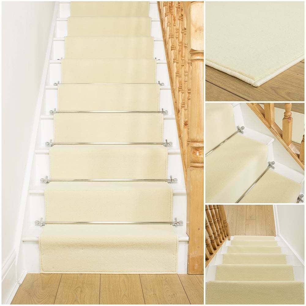 Plain Cream Stair Carpet Runner For Narrow Staircase