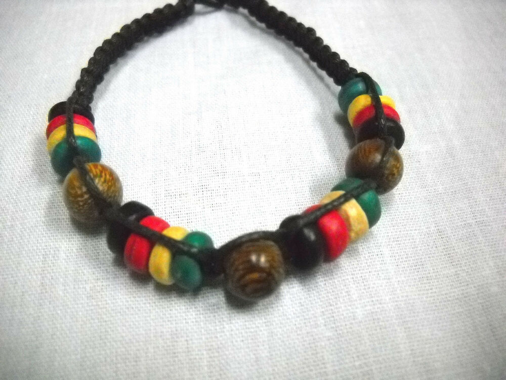 Black macrame rasta colors wood beads red green yellow tie for Red black and green jewelry