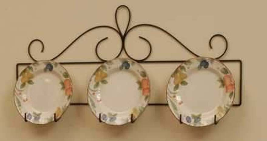 3 plate horizontal display holder wall hanger 29 3 4 long for Plaque metal decorative pour jardin