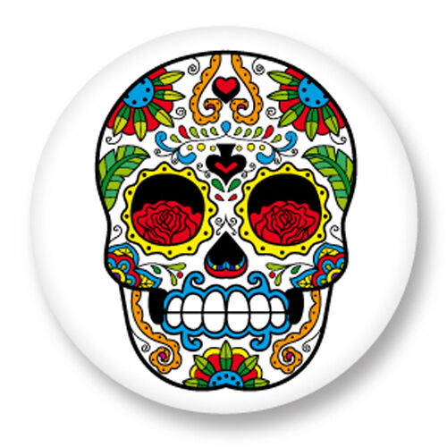 Pin Button Badge Ø38mm Calavera Sugar Skull Tete de Mort Crâne Mexicain