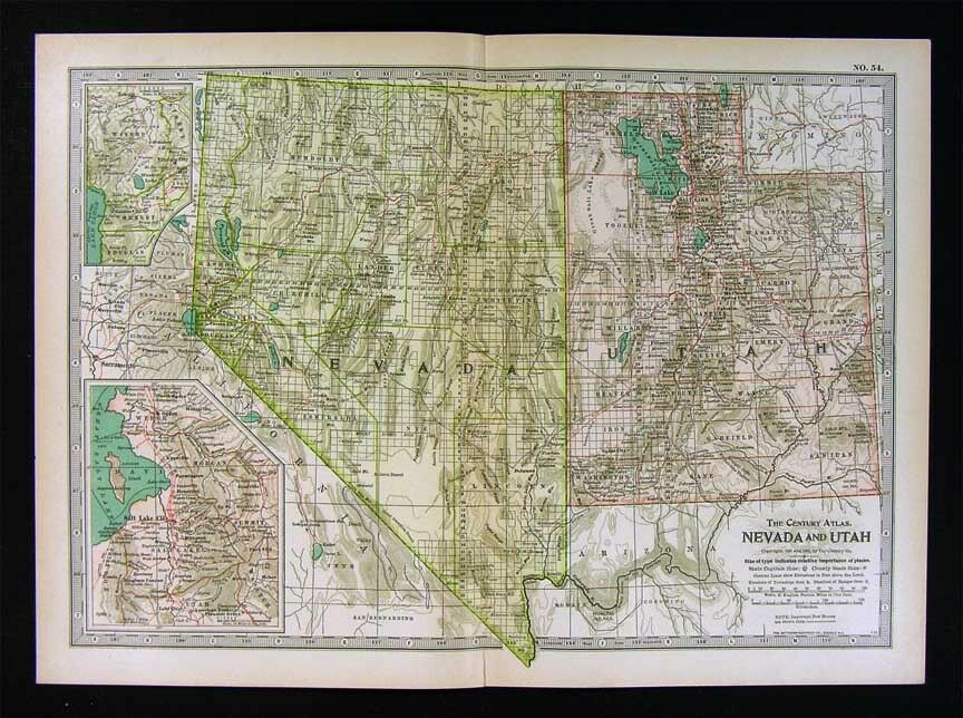1902 century atlas map nevada utah salt lake city las. Black Bedroom Furniture Sets. Home Design Ideas
