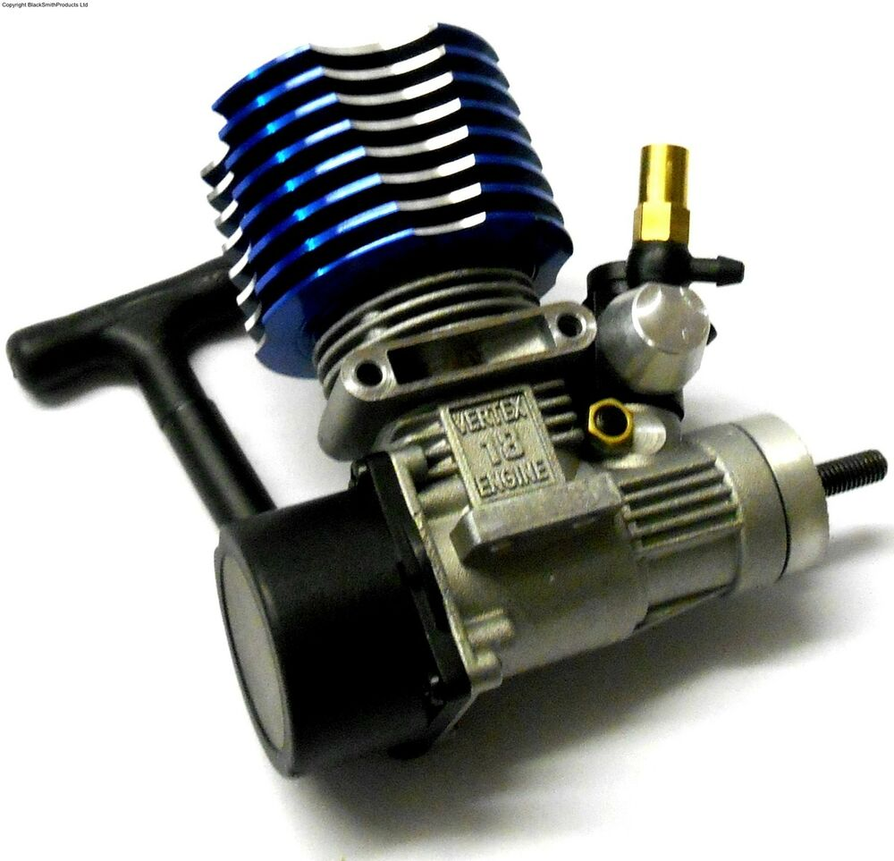 02060  18 Vx Rc Glow Nitro Engine Rotary Carb Side Exhaust Blue 1  10 Scale