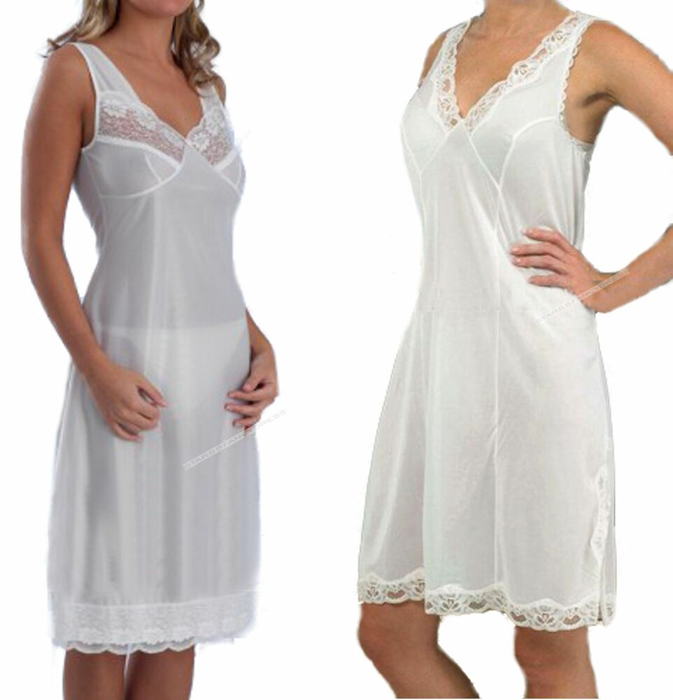 Types of women's full slips. A full slip conceals other lingerie items and makes dresses fill out so they don't bunch up. The four popular styles are regular, bra, strapless, and shapewear full slips.