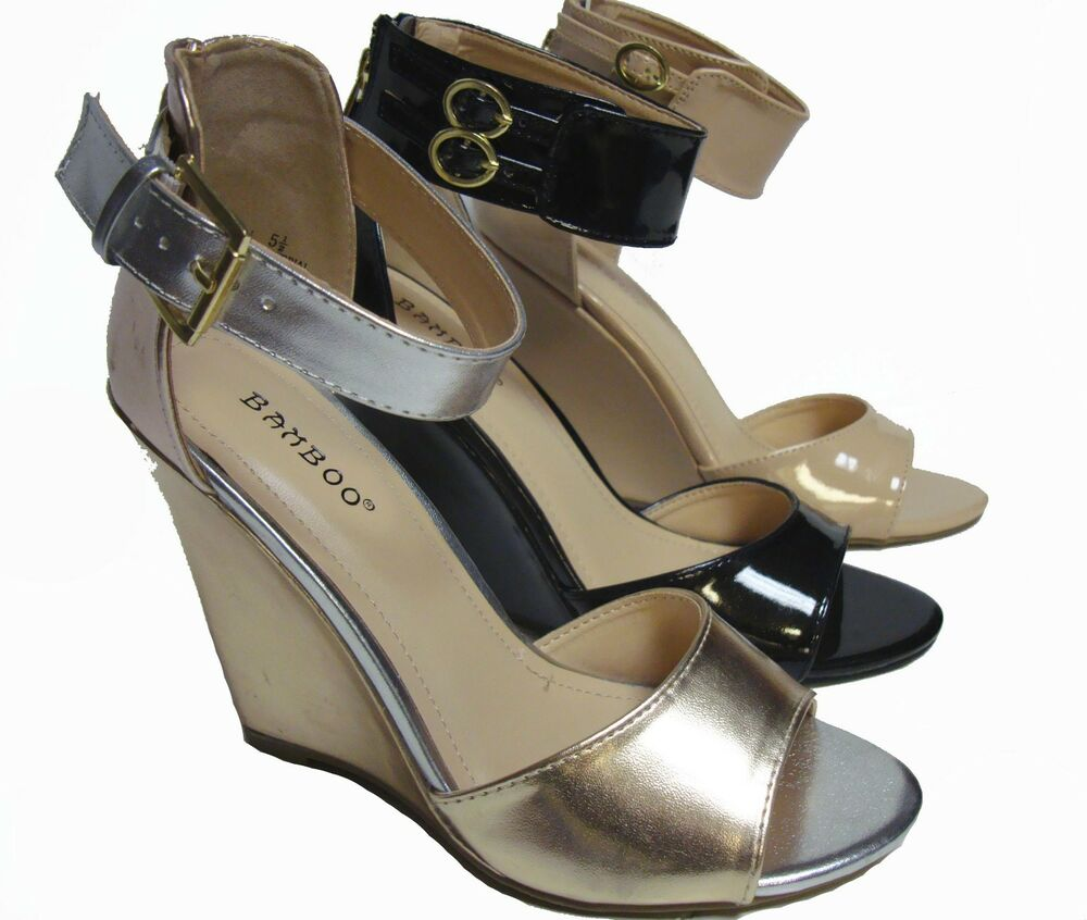 Bamboo Black Nude Gold Beige Silver Wedge Ankle Strap