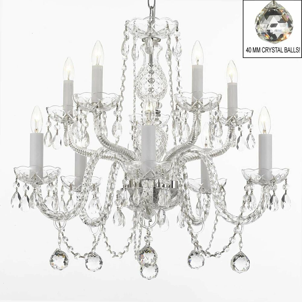 All Crystal Chandelier Lighting Chandeliers With Mm Crystal Balls Ebay