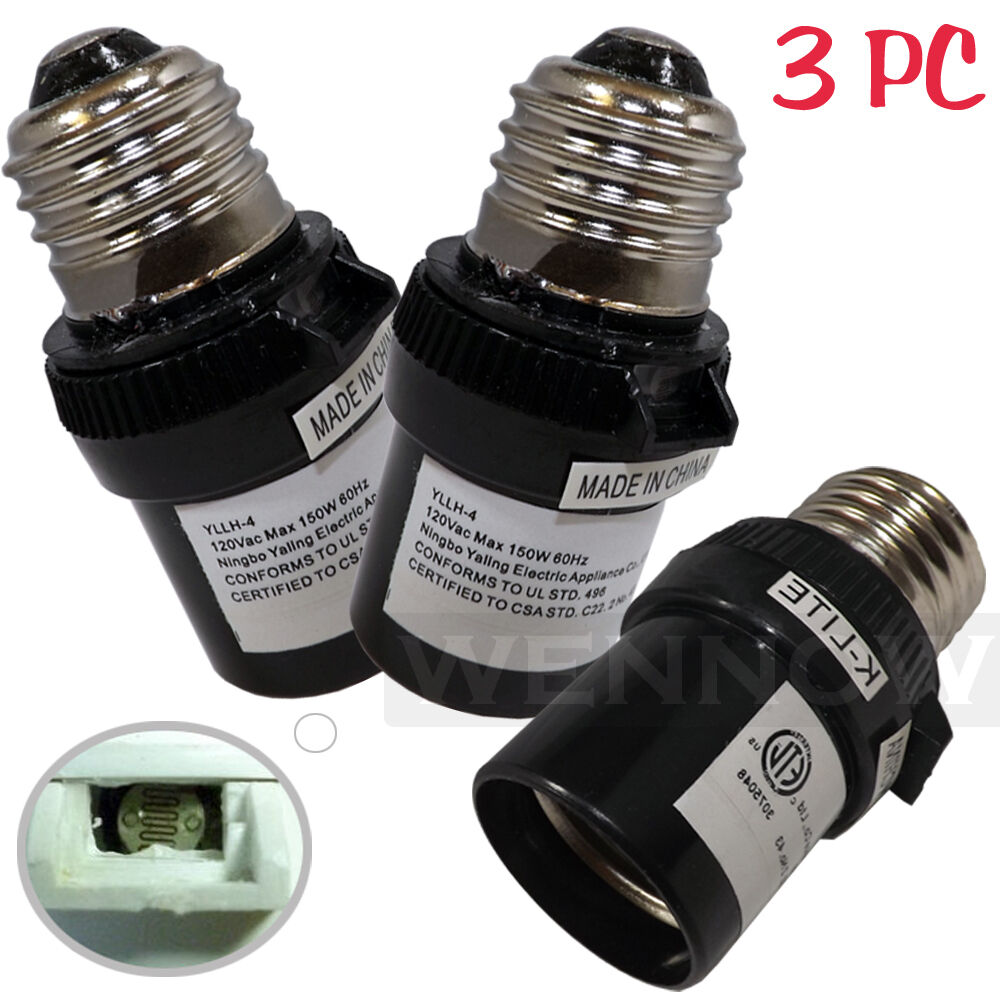 3 Pcs Black Dusk To Dawn Photocell Light Control Auto