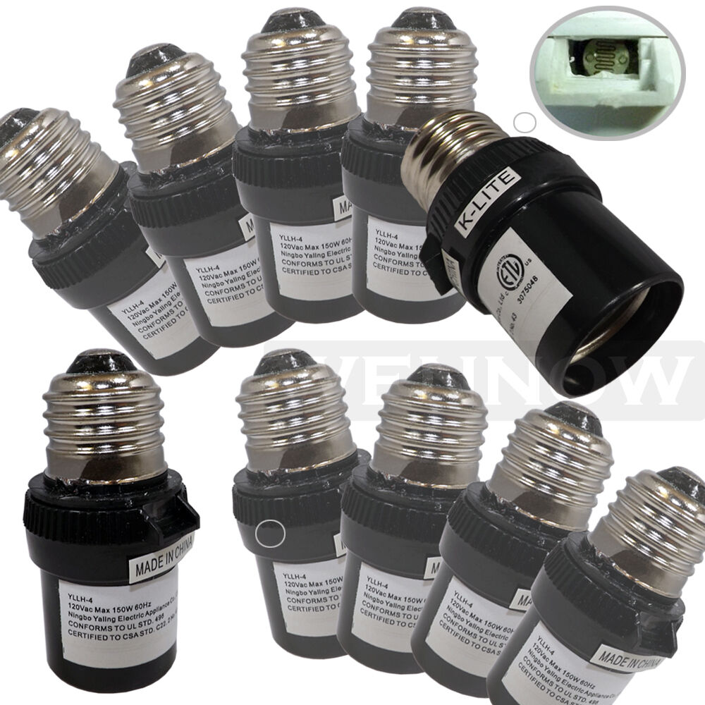 10 Pcs Black Dusk To Dawn Photocell Light Control Auto