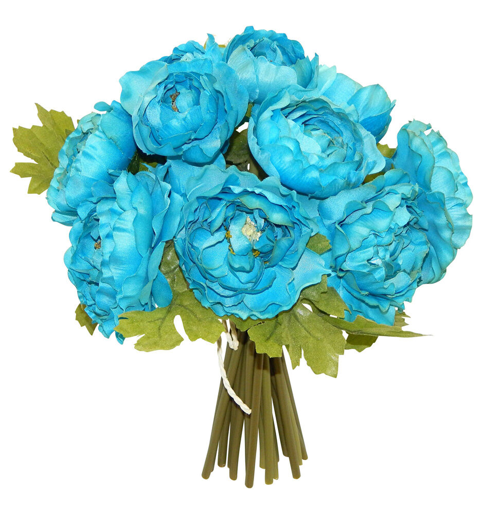 Making A Wedding Bouquet With Silk Flowers: TURQUOISE BLUE TEAL RANUNCULUS Bouquet Bridal Silk Wedding