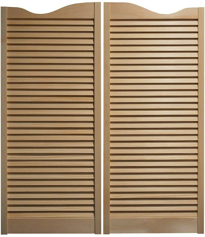 Pine cafe doors louvered western swinging saloon 30 32 36 w x 42 t w hinges ebay - Swinging double doors interior ...
