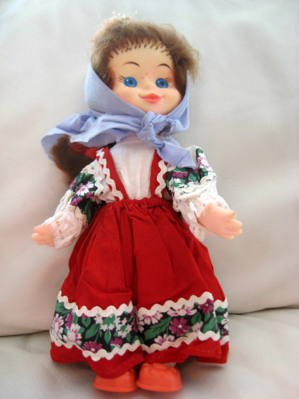 Vintage Russian Soviet Doll Toy Ussr Peasant Girl Folk