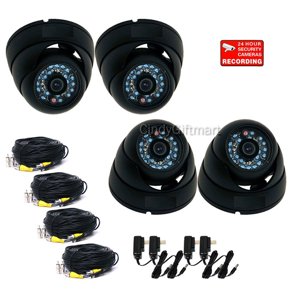 4x Dome Security Cameras Wide Angle Outdoor Ir Day Night