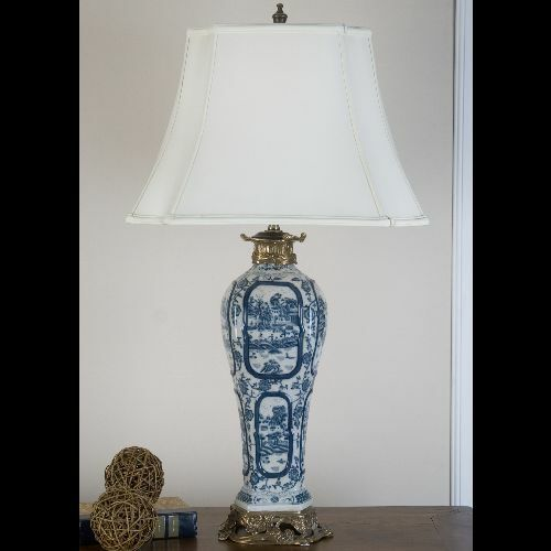 Details About Reproduction Oriental Blue And White Willow Lamp With Ormolu Mounts