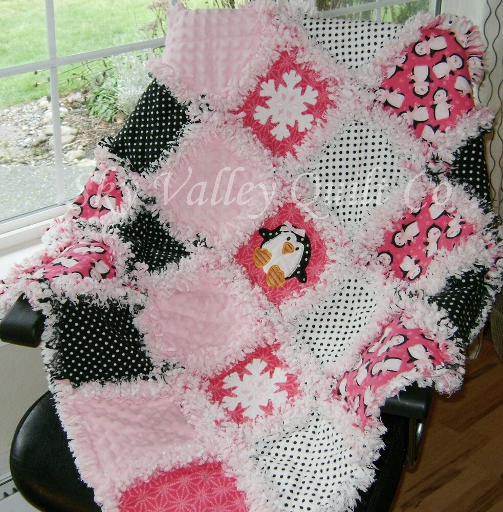 Baby Girl Rag Quilt Penguins Snowflakes Pink And Black