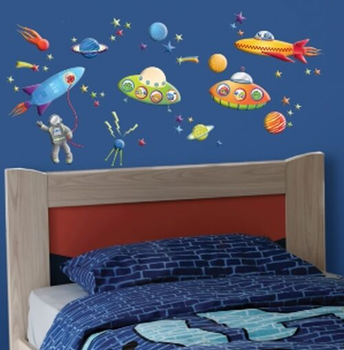 ... SPACESHIPS wall stickers 50 decals PLANETS MOON outer space  eBay
