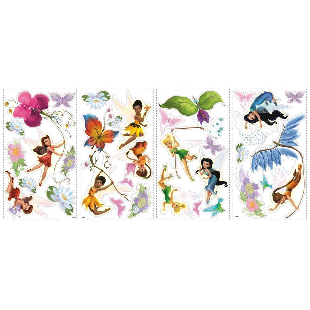 Disney fairies wall stickers 30 decals tinker bell fawn for Disney wall mural stickers