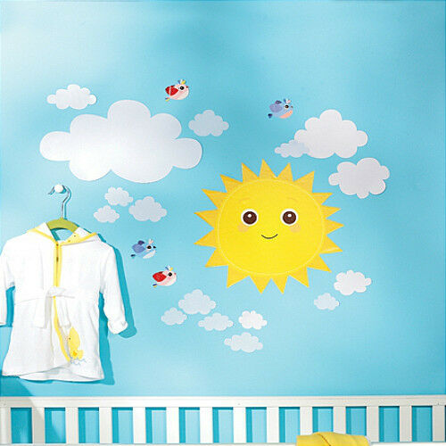 Wallies baby sunshine wall stickers 21 decals nursery decor sun clouds