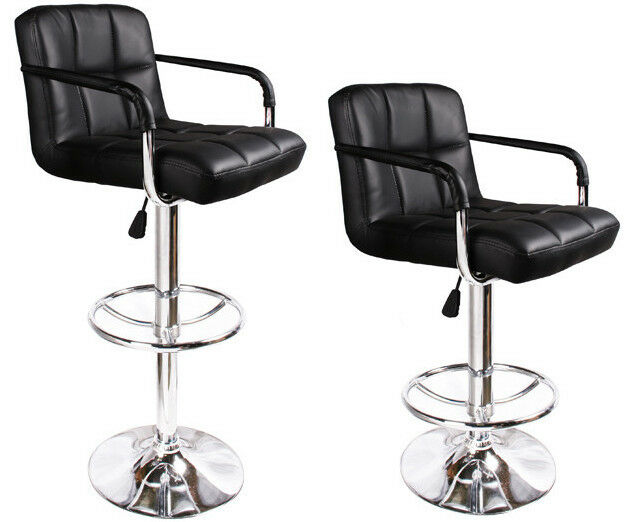 2 Black Bar Stools Leather Modern Hydraulic Swivel Pub
