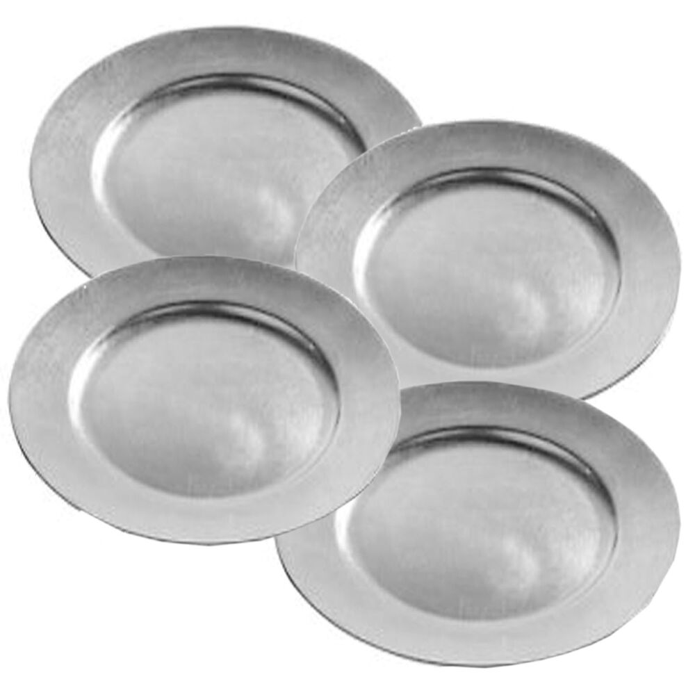 Set Of 4 Silver Charger Plates Lacquer Wedding Xmas Dinner Dining Under Plate