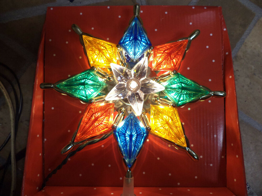 New Multi Color Stained Glass Look Tree Topper White Star