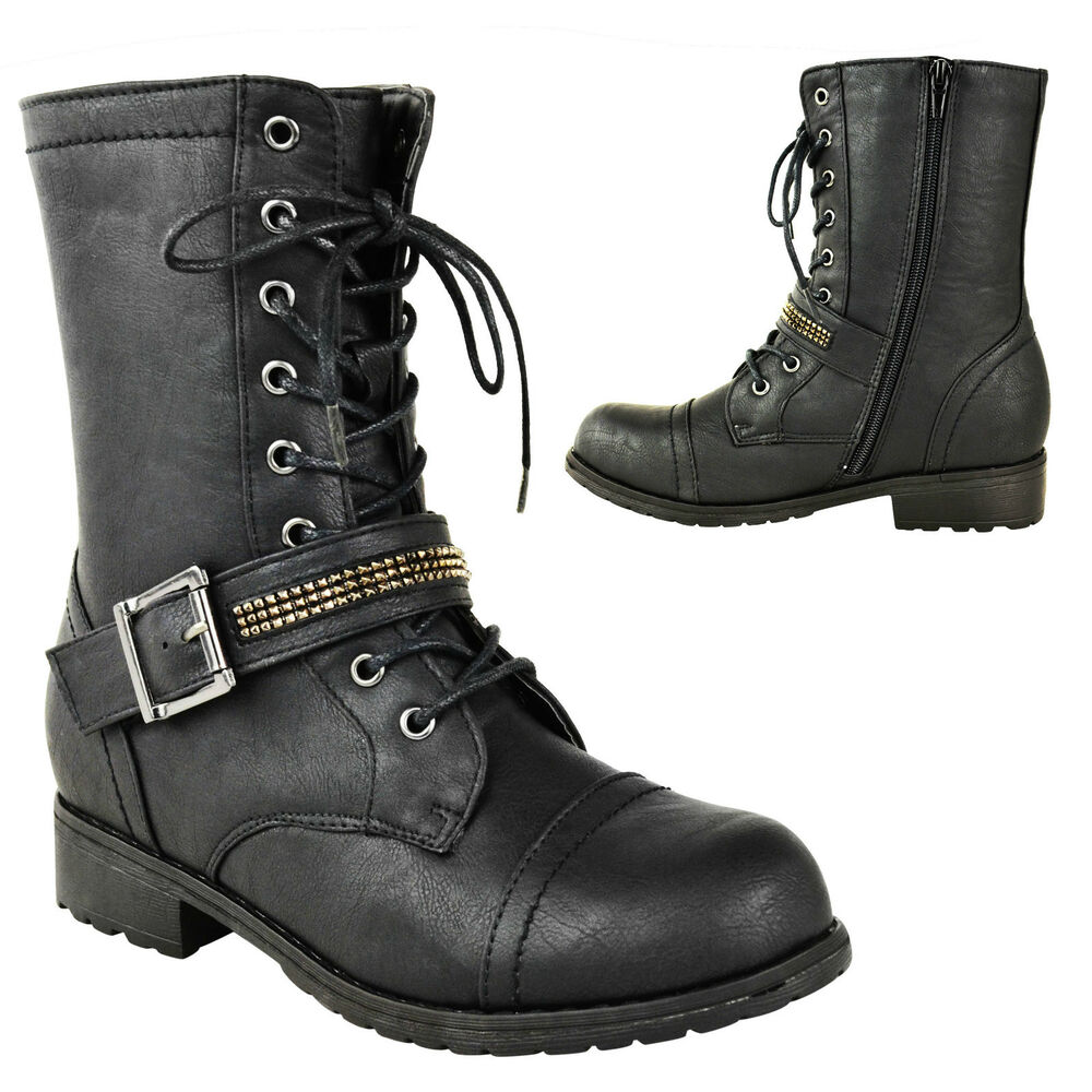 womens army flat ankle grip sole lace up