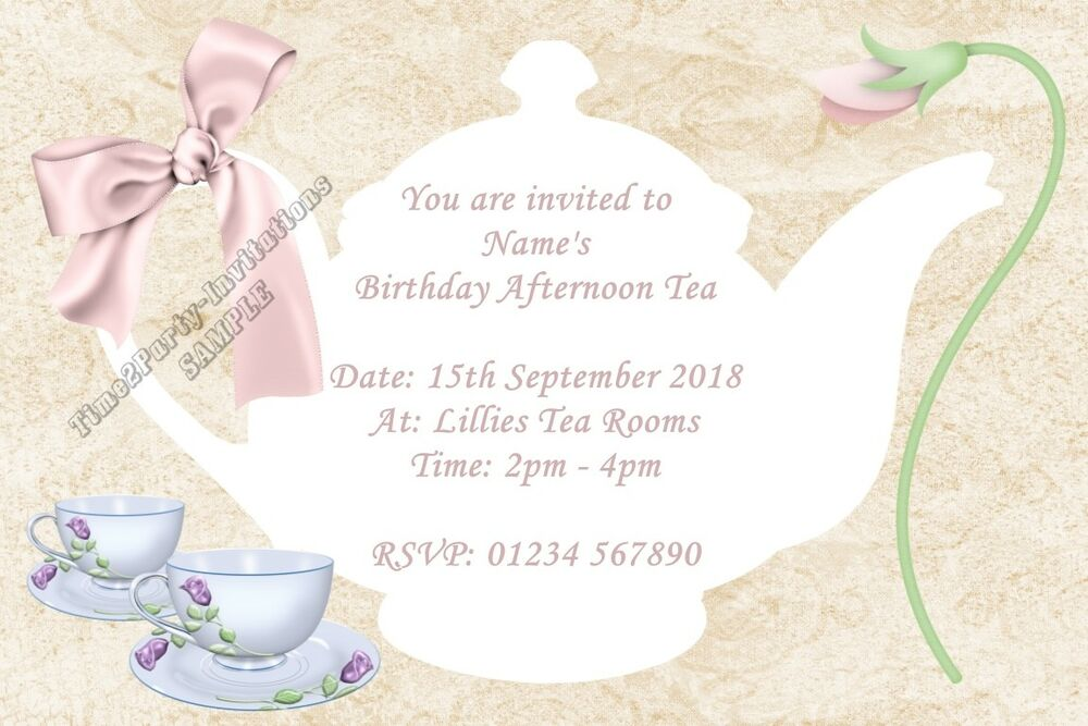 personalised afternoon tea party invitations birthday