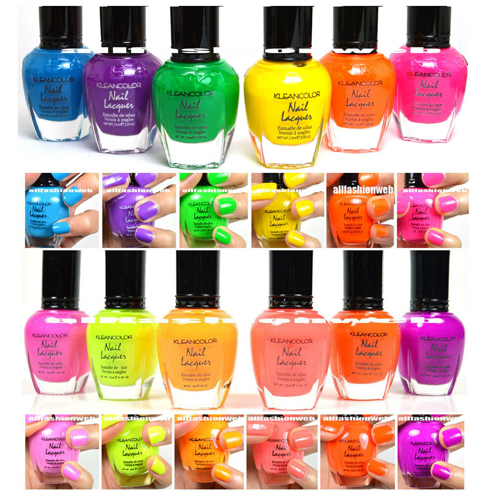 Bright Pink Nail Polish Colors: KLEANCOLOR NEON COLORS 12 FULL COLLETION SET NAIL POLISH