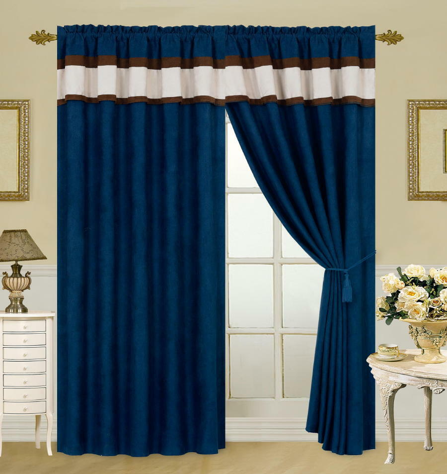 blue brown beige micro suede new window curtain panels liner tassel ebay. Black Bedroom Furniture Sets. Home Design Ideas