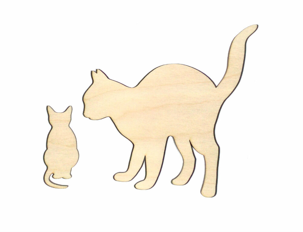 Mother Cat & Kitten Unfinished Wood Shape Cut Out MK4125
