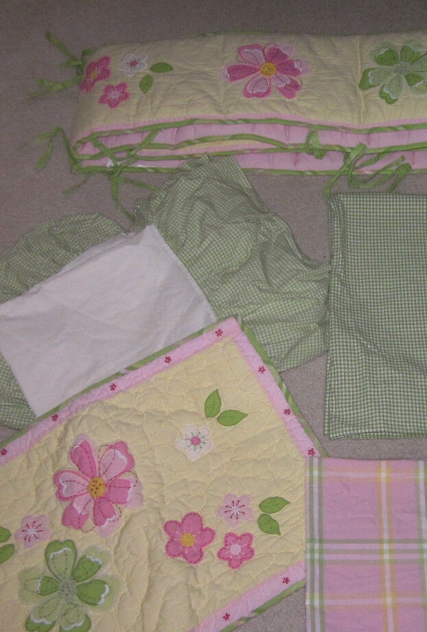 6pc pottery barn kids crib bedding bumper curtains green for Drapes over crib