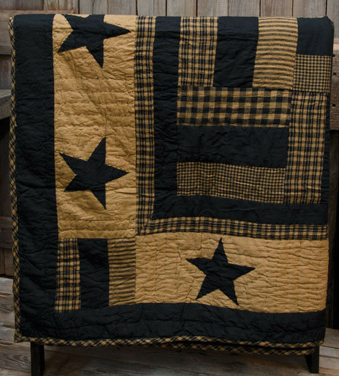 New Primitive Country Folk Art BLACK & TAN STAR QUILT