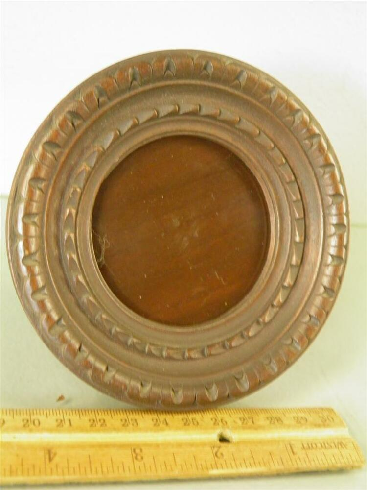 Antique Artisans Carved Wood Round Easel Back Picture