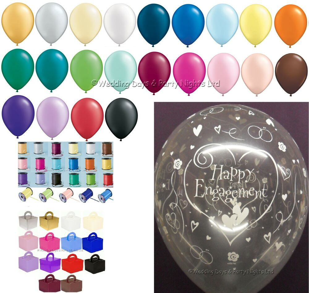 Happy engagement helium balloons ribbon weights 10 table for Balloon decoration for engagement party
