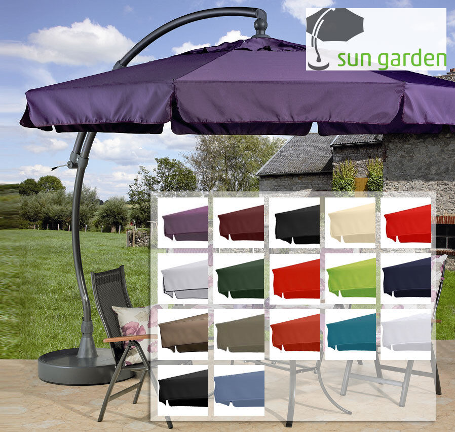 sun garden easy sun parasol ersatzbezug in 16 farben polyester 350 8 schrauben ebay. Black Bedroom Furniture Sets. Home Design Ideas