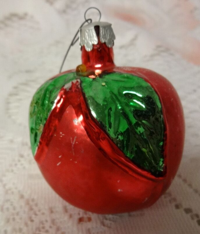 Vintage poland mercury glass christmas tree ornament fruit Vintage glass christmas tree ornaments