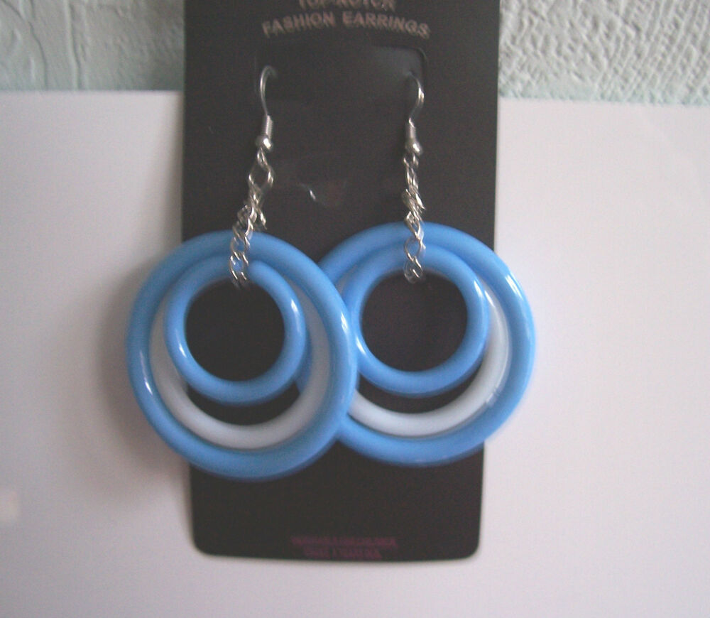 Big blue and white triple hoop plastic earrings - clip-on ...