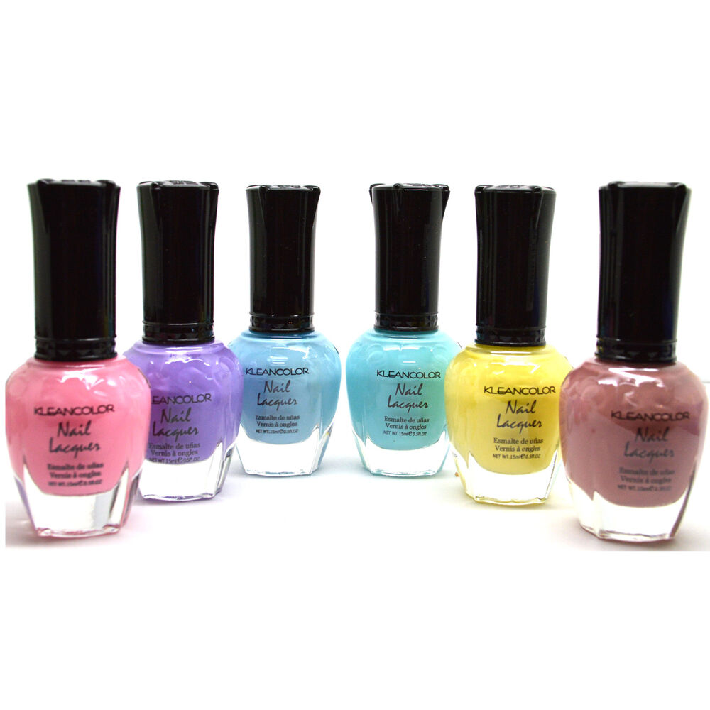 6 FULL KLEANCOLOR PASTEL COLLECTION COLORS NAIL POLISH