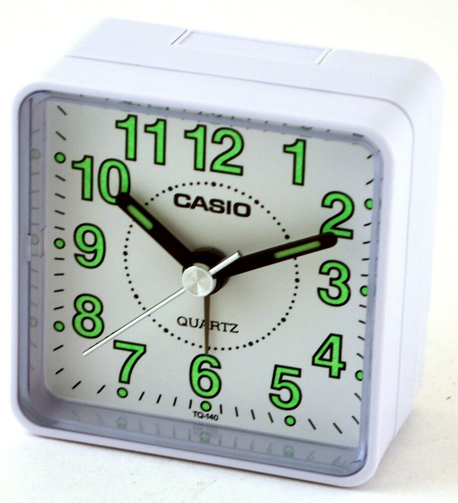 casio tq140 7d white dial easy reader table top travel. Black Bedroom Furniture Sets. Home Design Ideas