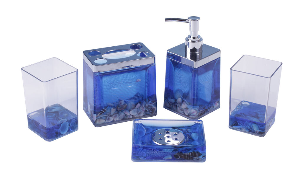 Ocean blue seawater bathroom accessory set 5 pcs with for Fashion bathroom set