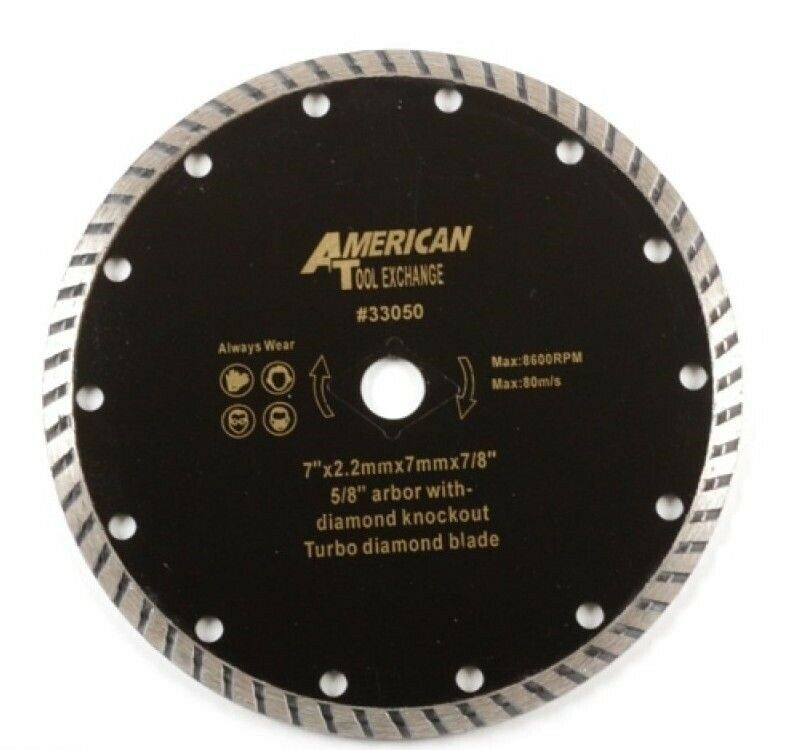 7 Quot Turbo Diamond Blade 5 8 Arbor With Diamond Knockout