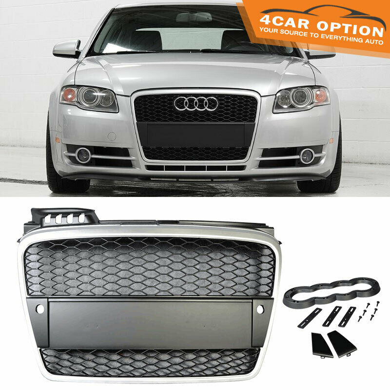 06-08 Audi A4 B7 Mesh Front Hood Grille Grill Silver Black
