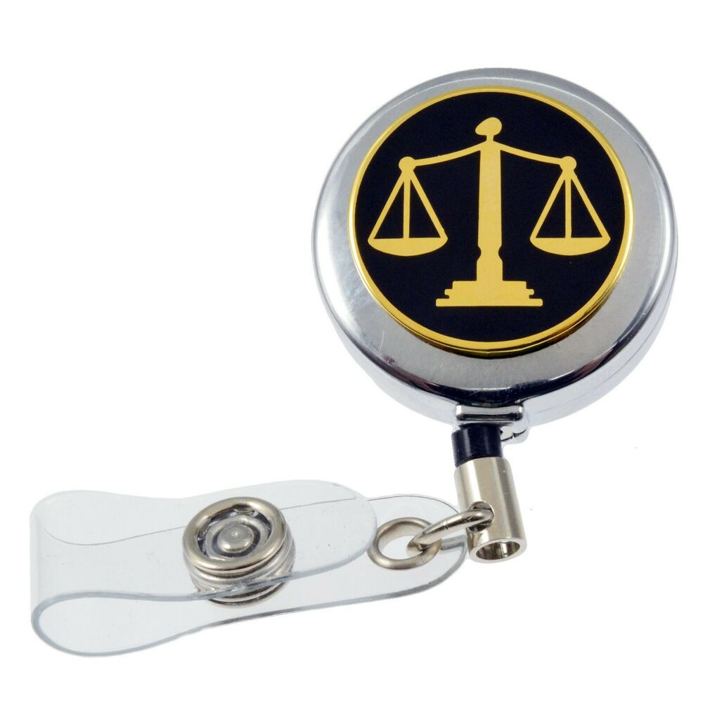 Scales Of Justice Lawyer Courts Retractable Security Id