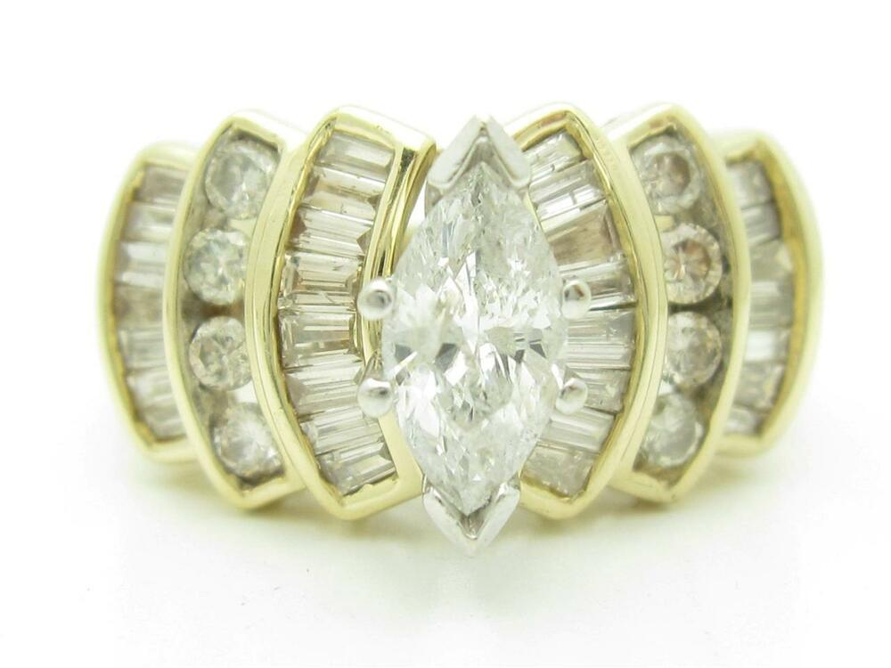 14kt Yellow Gold Genuine White Diamond Marquise Channel