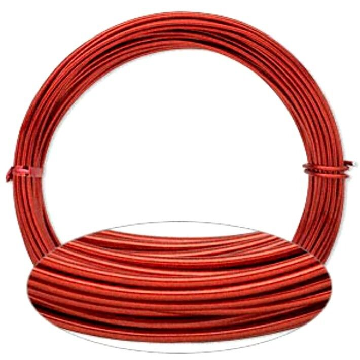 Red aluminum wrapping wire 45 foot coil 12 gauge round for 12 gauge aluminum craft wire