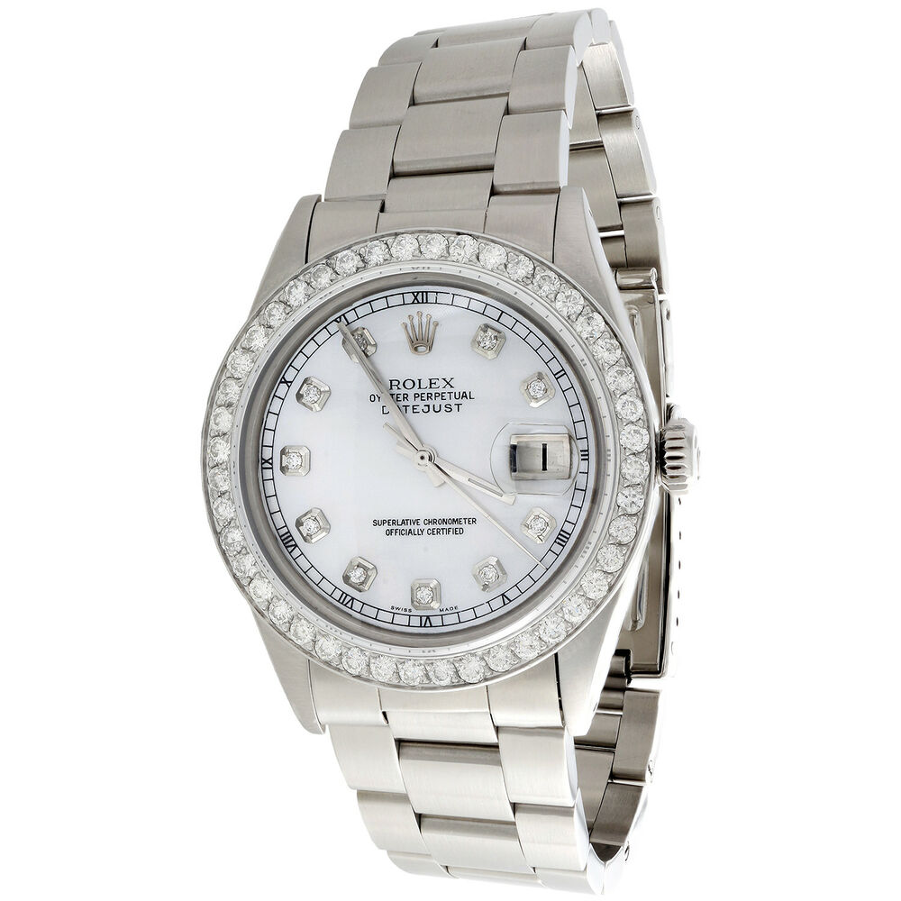 2742b6f292f Details about Mens Rolex 36mm DateJust Diamond Watch Oyster Steel Band  White MOP Dial 2 CT.