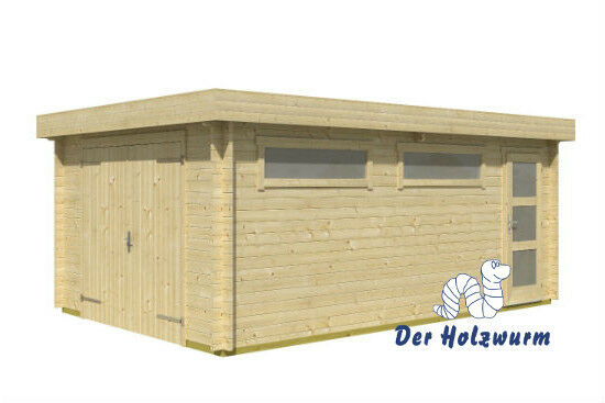 garage canberra ohne tor 380x560 cm holzgarage carport schuppen gartenhaus 44 mm ebay. Black Bedroom Furniture Sets. Home Design Ideas